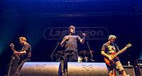 Madrid, Spain- May 14: Joe Raposo, Joey Cape and Chris Rest from Lagwagon punk-rock band performs in concert at Wizink center on may 14,2019 in Madrid...