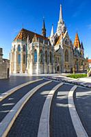 Morning view of Matthias church in historic city centre of Buda, Hungary. .