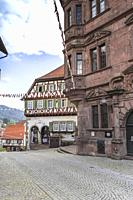 lane of Reichenbach, town Gernsbach, Murg valley of the Northern Black Forest, Germany, half-timbered house and town hall.