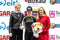 Amanda Spratt, winner of the stage, at the podium of the 2nd stage of UCI women cycling race Emakumeen Bira, at the Basque Country. Stage finished in ...