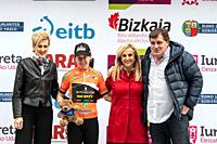 Amanda Spratt, points classification leader, at the podium of the 2nd stage of UCI women cycling race Emakumeen Bira, at the Basque Country. Stage fin...