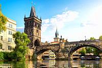 Tha Charles Bridge in Prague at summer day.