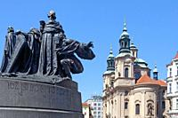 Prague - St. Nicolas Church and Jan Hus Memorial at The Old Town Square.