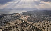 Aerial drone view of Kunming in Yunnan, China, and Dianchi lake.