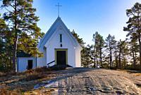 Timber Sandhamn chapel, (built 1934-35), Sandhamn island, Stockholm archipelago, Sweden, Scandinavia