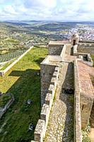 The Castle walls overlooking the city of Elvas, Garrison Border Town of Elvas and its Fortifications, Portalegre District, Alentejo Region, Portugal, ...