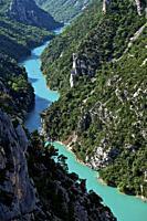 canoe on the gorges of the verdon. Moustier Sainte Marie, Alpes-de-Haute-Provence, France.