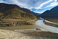 Sangam Indus and Zanskar river confluence, Ladakh, India.