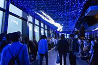 Visitors contemplate the LED lights simulating the Milky Way in commemoration of Tanabata festival at Tokyo Tower on July 07, 2019, Tokyo, Japan. Ever...