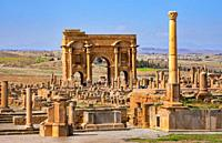 Algeria, Timgad City, Roman ruins of Timgad, UNESCO,, Trajanïs Arch