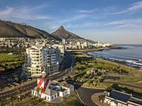Aerial view of the Atlantic Seaboard, Mouillie Point and sea Point with Signal Hill, Lion's Head and Table Mountain.