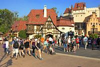 German Pavilion at Epcot, full of tourists, people; Disney World, Orlando, Florida, USA.
