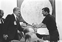 USA Florida -- 10 Oct 1968 -- Apollo 7 Commander Walter M. Schirra, Jr. , left, greets Dr. Wernher Von Braun, Director, Marshall Space Flight Center a...
