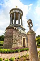 Burns Monument museum, Alloway, Ayr, Scotland, dedicated to the Scottish poet Robert Burns. It is a 70 foot high Grecian styled temple with 9 pillars ...