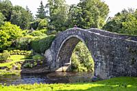 Tourists standing on the Old Brig o'Doon, a 15th century cobblestone bridge crossing the River Doon at Alloway, Ayrshire and was mentioned in the poem...