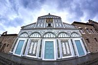 Facade of the abbey of San Miniato al Monte after the storm. Florence, Tuscany. Italy.