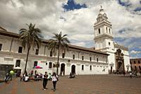 View to the Convent and Museum of Santo Domingo at the historic center, Quito, Ecuador, South America