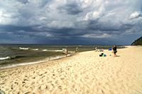 the baltic beach in Miedzyzdroje, Wolin Island, West Pomeranian, Poland, Europe.