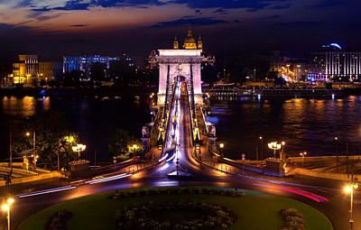 Ð¡ircular road in font of Chain bridge in Budapest at night.