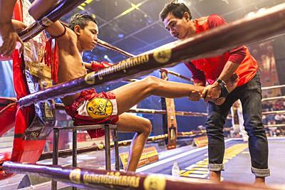 Cambodia, Phnom Penh, Cambodian kick boxing match, pradal serey, kickboxers, NR.