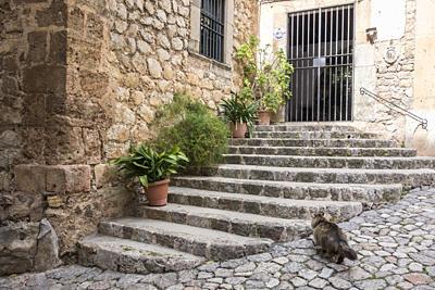 Ancient street view, village of Valldemossa, Majorca Island, Spain.