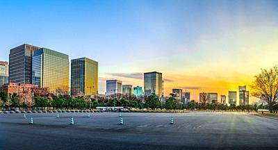 Japan,Tokyo City, Marunouchi District Skyline Panorama.