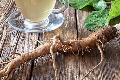 Burdock roots on a table with herbal tea in the background.