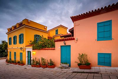 Architecture in Plaka, the old town of Athens, Greece. .