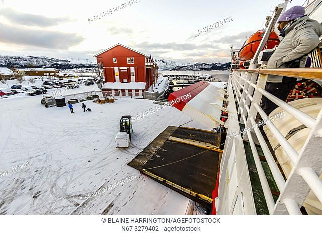Hurtigruten ship MS Vesteralen docked at Ornes, north of the Arctic Circle, in Northern Norway