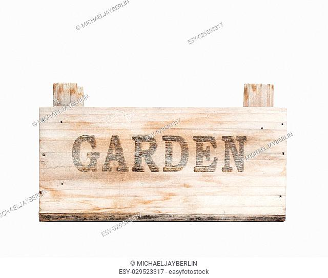 Empty garden crate made from wood, isolated on white background