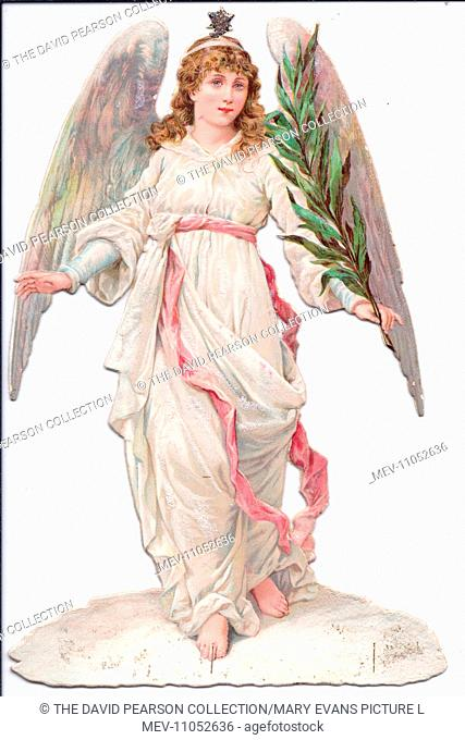 Angel with a branch on a Victorian Christmas scrap