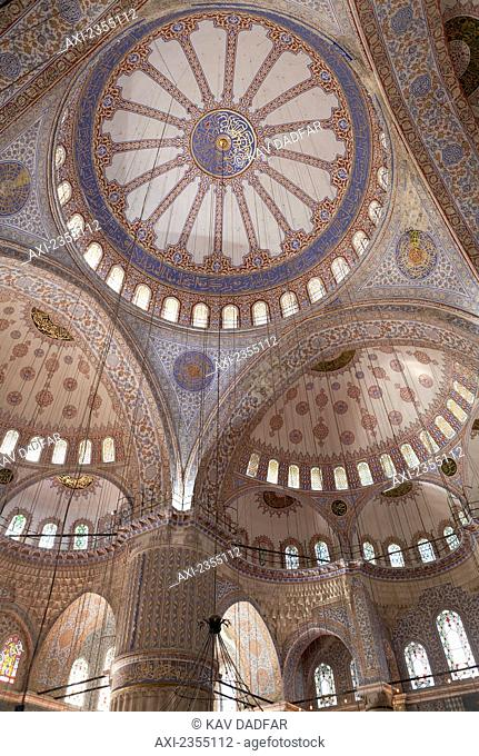 Interior of the Blue Mosque; Istanbul, Turkey