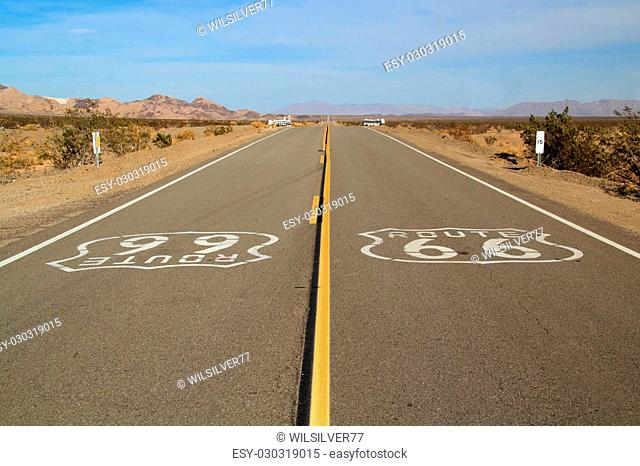 Historic Route 66 in the small town of Amboy, California