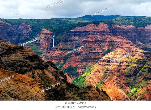 Landscape view of Waimea cayon and Waipoo waterfall, Kauai, Hawaii, USA