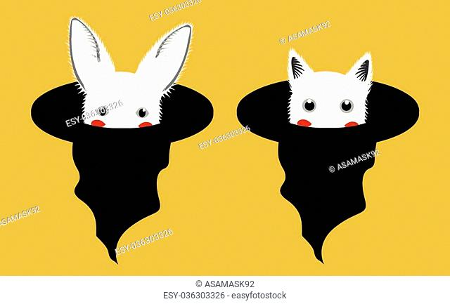 White Rabbit Cat in Witch Hat Vector Illustration