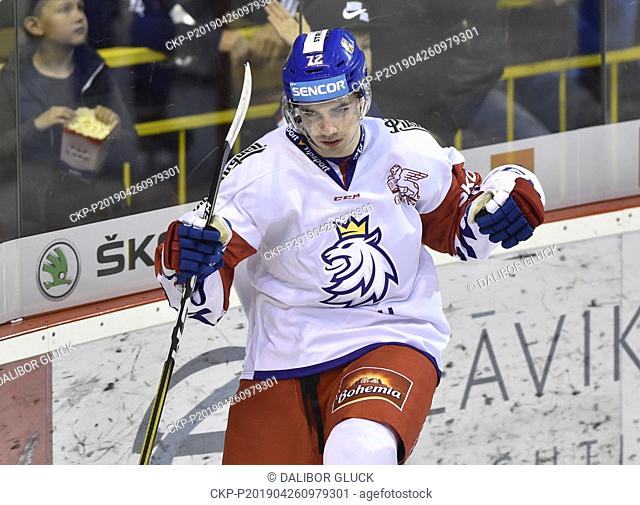 Filip Chytil of Czech Republic celebrates a goal during the Euro Hockey Challenge match Slovakia vs Czech Republic in Trencin, Slovakia, April 26, 2019