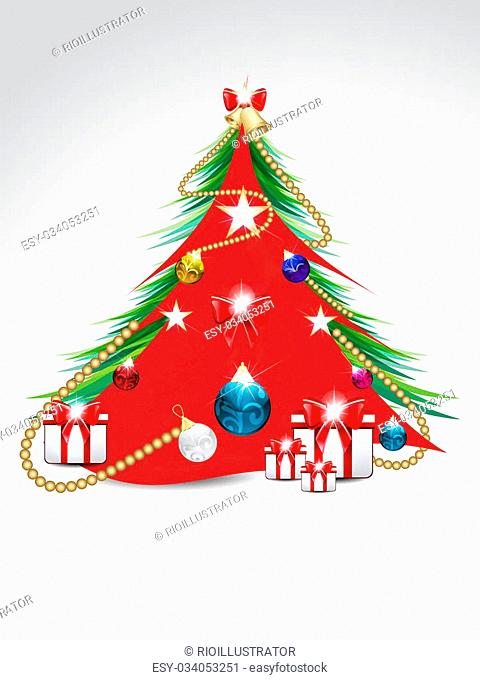 decorated Christmas tree background vector illustration
