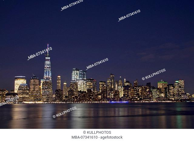 Night view of Manhattan skyline, New York City, USA, Big Apple with One World Trade Center