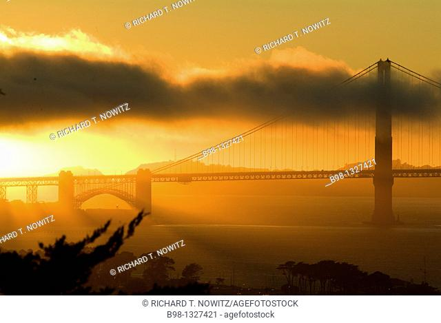 Golden Gate Bridge at sunset as seen from Russian Hill