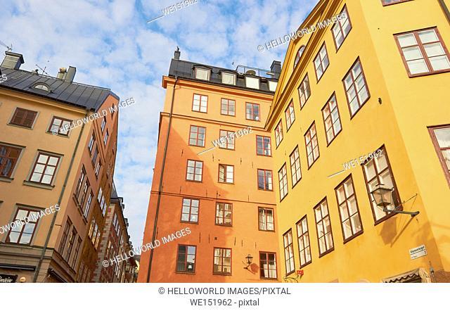 Colourful architecture, Kopmantorget, Gamla Stan, Stockholm, Sweden, Scandinavia