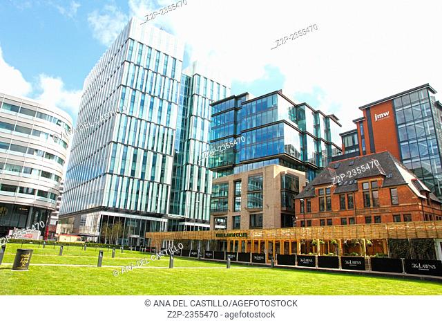 MANCHESTER UK-APRIL 19: Spinningfield is a modern area was specially developed in the 2000s as a business, retail and residential development of Manchester on...