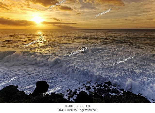 Sunset at East Coast , Los Hervideros , Lanzarote, Canary Islands, Spain