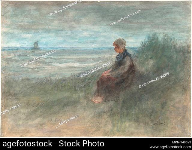 Girl in the Dunes. Artist: Jozef Israels (Dutch, 1824-1911); Date: mid-19th-early 20th century; Medium: Watercolor and touches of black chalk on paper;...