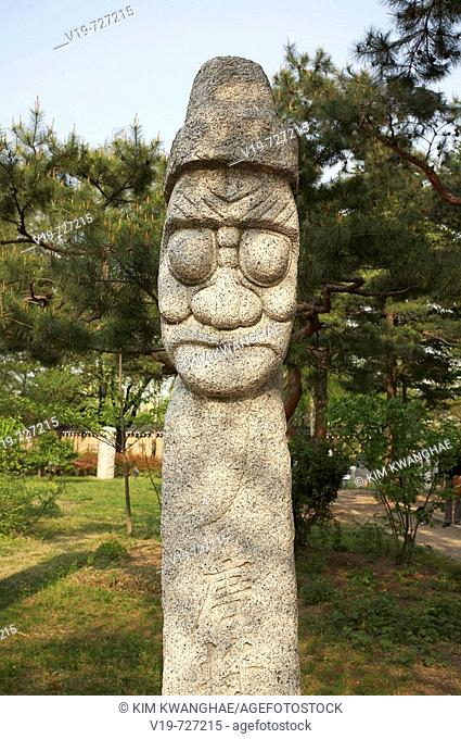 Stone figures at Gyeongbokgung Palace, National Folk Museum, Seoul, South Korea