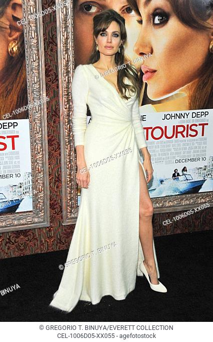 Angelina Jolie (wearing a Versace dress) at arrivals for THE TOURIST Premiere, The Ziegfeld Theatre, New York, NY December 6, 2010