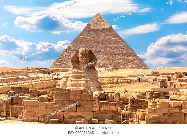 The Sphinx, the Pyramid of Chephren and the ruins of a temple in Giza, Egypt