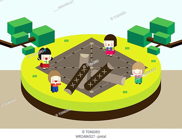 Background of new year 2016 with people playing yunnori, one of traditional Korean folk games