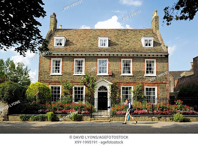 A fine English brick town house on Palace Green close to West Door of Ely Cathedral. Cambridgeshire, England