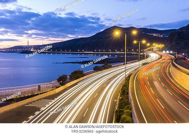 Las Palmas, Gran Canaria, Canary Islands, Spain. Morning rush hour traffic entering Las Palmas on Avenida Maritima