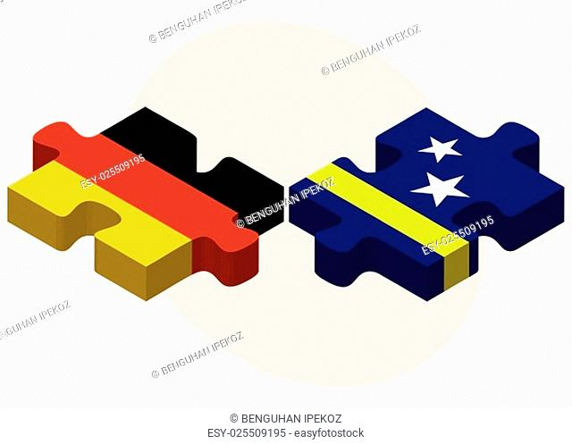 Germany and Curacao Flags in puzzle isolated on white background